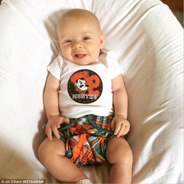 Back on social media: After staying quiet for more than two weeks, one of Michelle's other daughters, Jill, posted this photo of her two-month-old son Israel