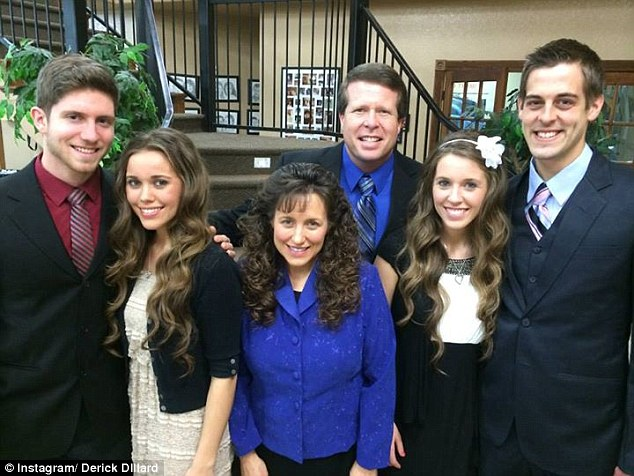 The couple have been accused of trying to cover up the scandal for the sake of their reality TV show. They are pictured with daughter Jessa and her husband Ben Seewald (right) and daughter Jill and husband Derick Dillard