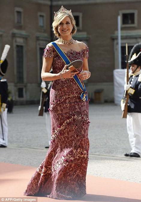 Queen Maxima of the Netherlands on her way to the wedding