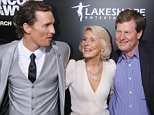 "HOLLYWOOD, CA - MARCH 10: Matthew McConaughey, mom Mary Kathleen McCabe and brother Michael McConaughey arrive at the Los Angeles Premiere of ""The Lincoln Lawyer"" at the ArcLight Hollywood on March 10, 2011 in Hollywood, California. (Photo by Gregg DeGuire/PictureGroup)"