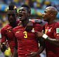 Asamoah Gyan of Ghana, celebrates scoring his team's second goal during the 2014 FIFA World Cup Brazil Group G match between Germany and Ghana at Castelao in Fortaleza, Brazil.      (Photo by Laurence Griffiths/Getty Images) FORTALEZA, BRAZIL - JUNE 21 2014