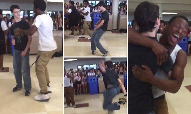 Teen shocks high-school crowd by winning dance-off in video