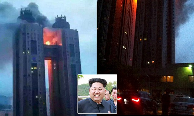 Pictured - the fire Kim Jong-Un didn't want you to see: Images emerge of major blaze at
