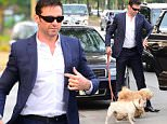 NEW YORK, NY - JUNE 11:  Actor Hugh Jackman is seen walking is dogs Dali and Allegra in Soho on June 11, 2015 in New York City.  (Photo by Raymond Hall/GC Images)