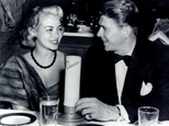 This undated photo provided by the Monica Lang Archive shows, actress Monica Lewis, left, and actor Ronald Reagan, at Ciro's in Los Angeles. The actress' former manager, Alan Eichler, says she died at age 93, on Friday, June 12, 2015, of natural causes at her home in the Los Angeles area. Lewis started her career as a vocalist with Benny Goodman's orchestra and went on to record several jazz hits in the 1940s, and in 1950, she hit Hollywood, signing an exclusive contract for music and movies with MGM. (Monica Lang Archive via AP)