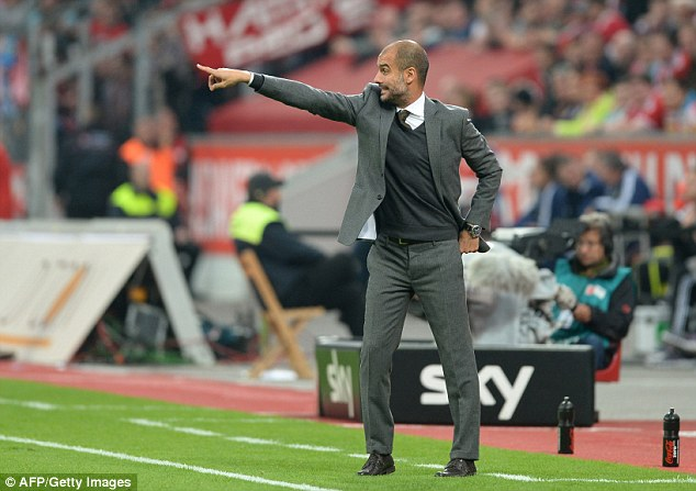 Hard work: Pep Guardiola plays in a style that is very British - with a high line, lots of work rate and lots of pressing