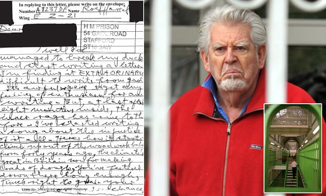 Rolf Harris's vile jail song revealed in letter from Stafford prison