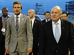 David Beckham; FIFA President Joseph S. Blatter and FIFA Vice President Jack Warner leave the pitch before the FIFA U17 Women's World Cup Final match between South Korea and Japan at the Hasely Crawford Stadium on September 25, 2010 in Port of Spain, Trinidad And Tobago.  (Photo by Shaun Botterill - FIFA/FIFA via Getty Images)  ***Please note this image forms part of the Getty Premium Access agreement and may incur an additional fee. If reused it must be downloaded from the Getty site.***