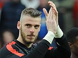 Football Barclays Premier League, Manchester United 1 v Arsenal 1. Picture Graham Chadwick.  David De Gea applauds the fans