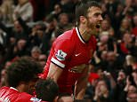 "Juan Mata celebrates scoring the third goal for Manchester United with Michael Carrick and team mates.  Football - Manchester United v Manchester City - Barclays Premier League - Old Trafford - 12/4/15.   Action Images via Reuters / Jason Cairnduff  Livepic  EDITORIAL USE ONLY. No use with unauthorized audio, video, data, fixture lists, club/league logos or ""live"" services. Online in-match use limited to 45 images, no video emulation. No use in betting, games or single club/league/player publications.  Please contact your account representative for further details."
