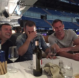 Jamie Carragher dines overlooking Bernabeu pitch ahead of Liverpool vs Real Madrid legends