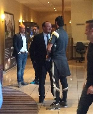 Real Madrid boss Rafa Benitez pictured meeting Gareth Bale before he fired Wales to