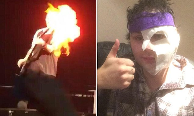 5 Seconds Of Summer guitarist Michael Clifford's hair catches fire on stage