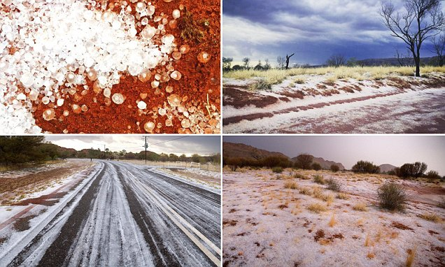 Snow in the desert: Freak hailstorm turns the Red Centre white, blanketing parched earth