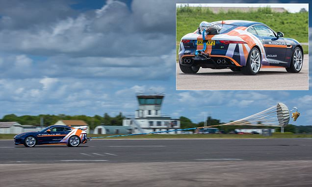 Supersonic car Bloodhound SSC's parachute tested on a Jaguar