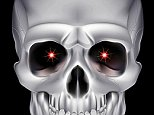 DWB5A4 Chrome mystic skull with red sparks in the eyes on black background.