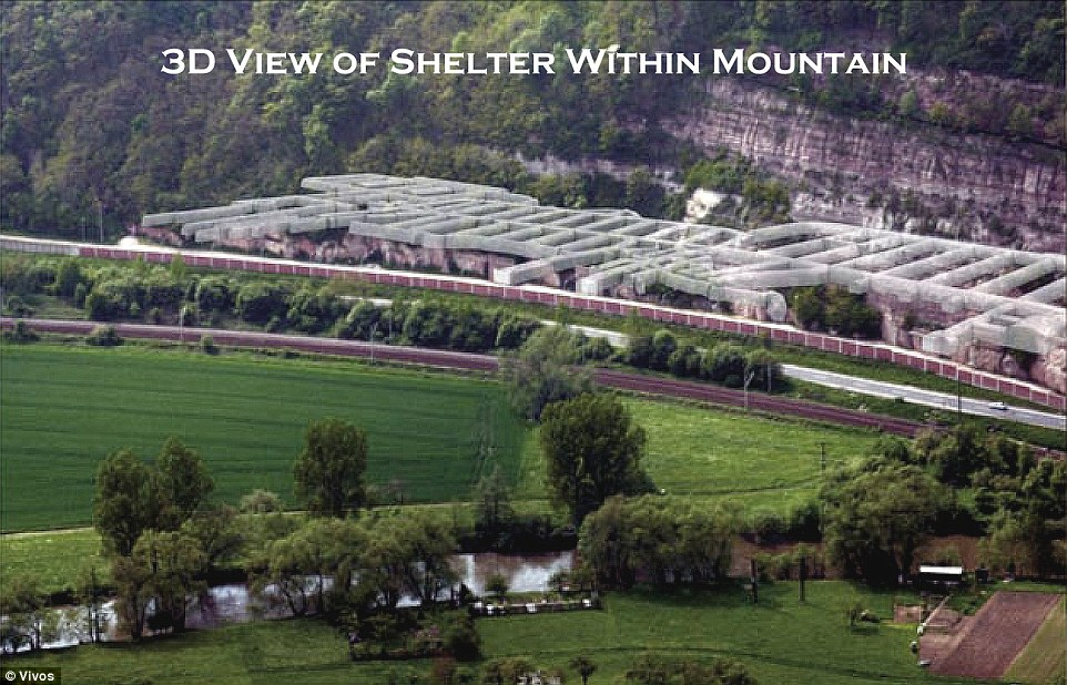 3D view: In a statement, Vivos told Daily Mail Online: 'We are clearly living in dangerous and changing times that the uninformed will never understand until the threats are evident. We cannot predict, but we can prepare.' Above, a 3D view of the shelter in Rothenstein