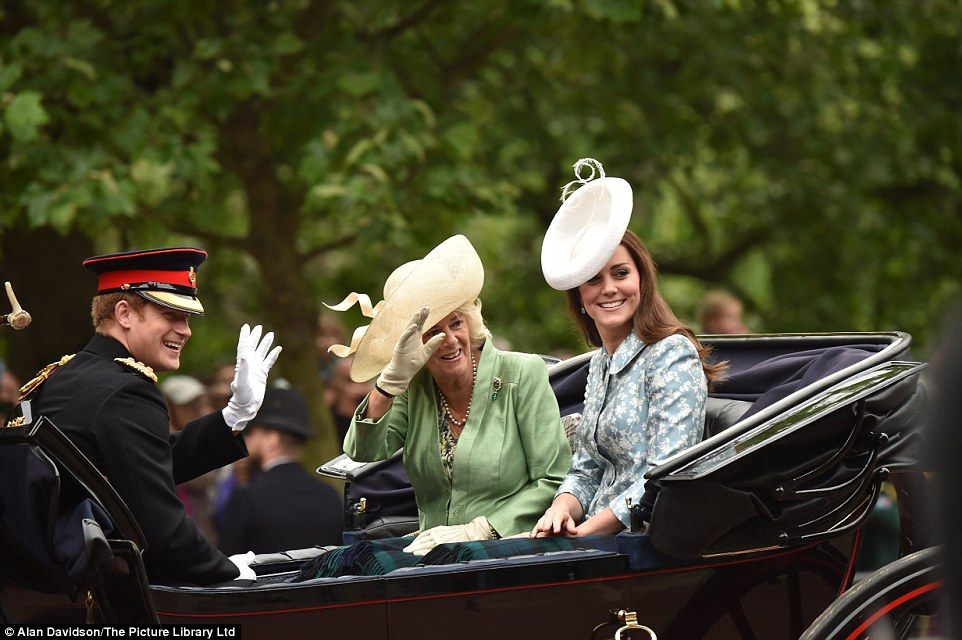 Prince Harry, who left the military last month after a decade in service and two combat tours of the Middle East, rode in the carriage with Camilla and Kate dressed in the uniform of the Household Cavalry, where he remains a Commissioned Officer