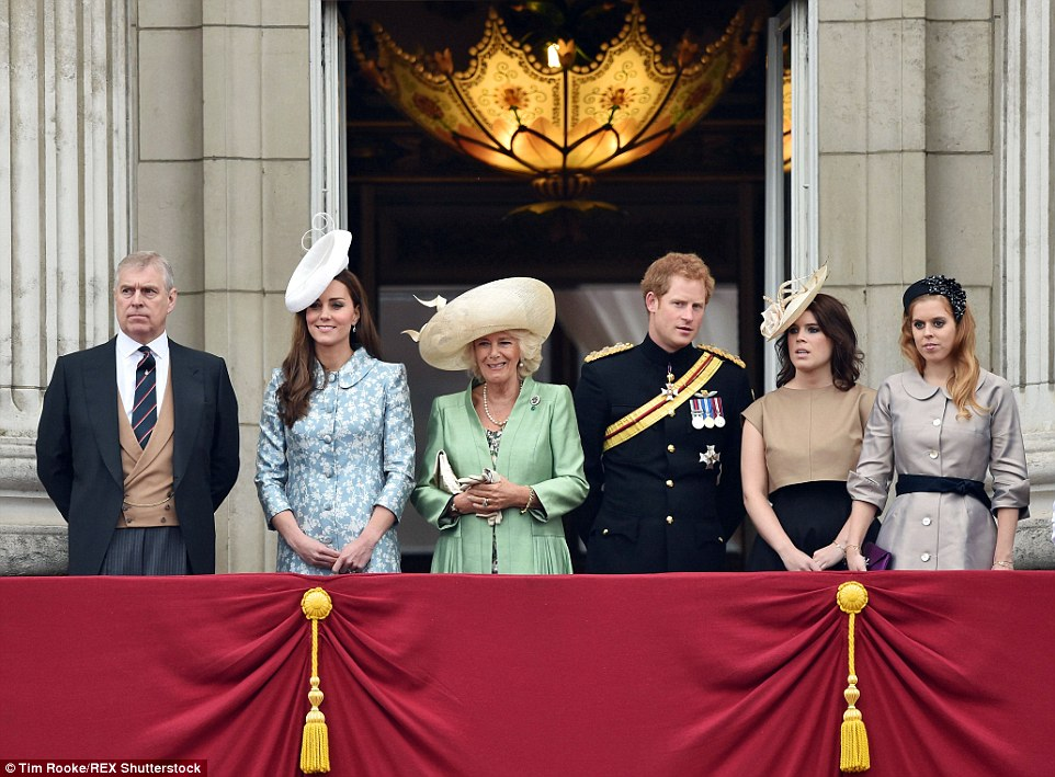 Following the parade, Prince Andrew, the Duchess of Cambridge, the Duchess of Cornwall, Prince Harry, Princess Eugenie and Princess Beatrice were pictured on the balcony of Buckingham Palace