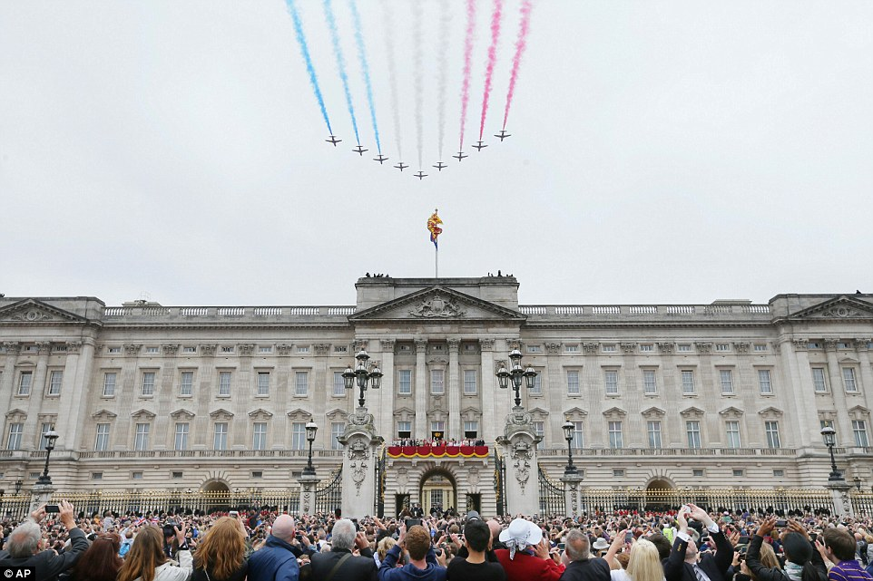 While most of the fly-past was cancelled due to the cloudy weather, the Red Arrows still managed to play their part in the celebrations