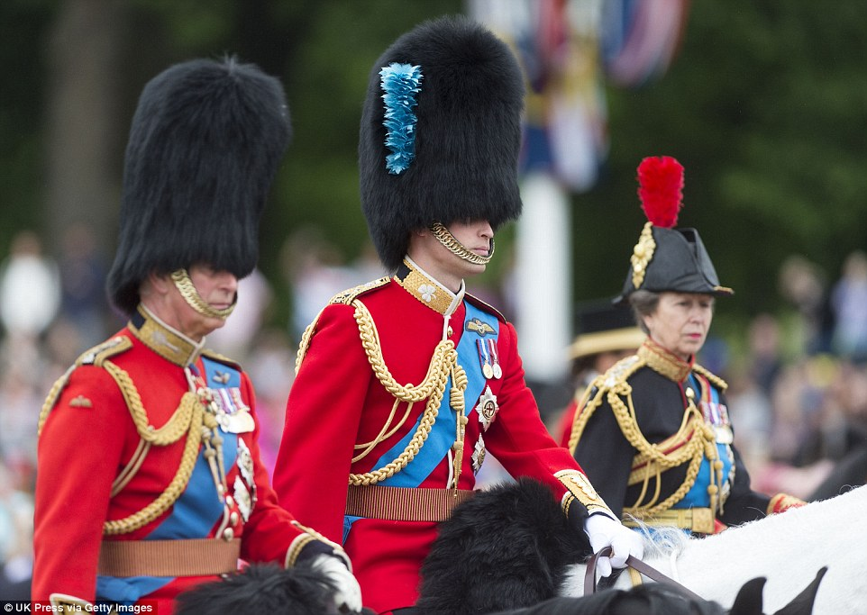 Prince Charles, Prince William and Princess Anne take part in the Trooping the Colour parade while mounted on horseback. The Queen also used to ride during the parade, but swapped to a carriage in the late 1980s