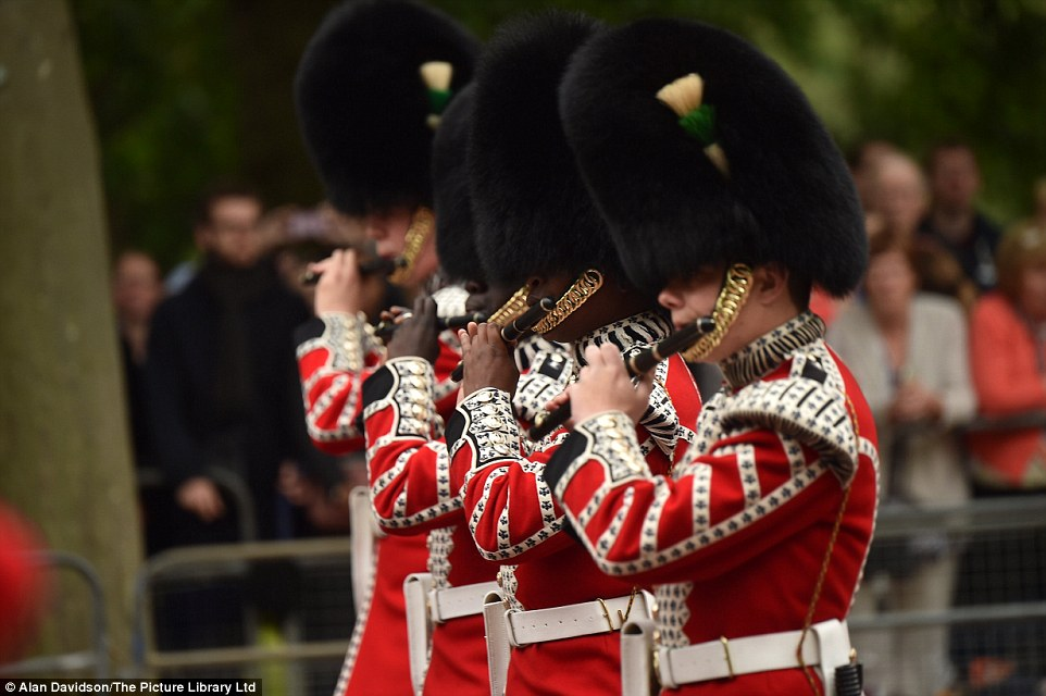 Military marching music linked to the history of each regiment on display plays a big part in the ceremony, both to keep time for the marchers, and harking back to a time when battlefield commands were given using drummers
