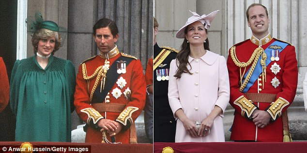 As well as a mirror between the two young boys, Charles and Diana were pictured together in near-identical poses in 1984 to William and Kate on the balcony of Buckingham Palace on Saturday
