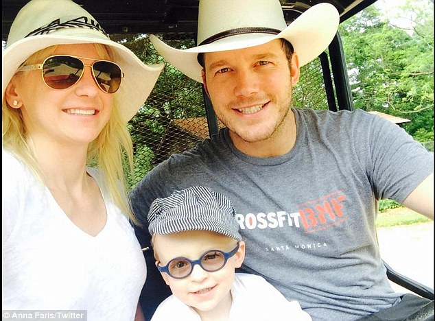 Loved up: The happily married couple enjoyed spending time together with their two-year-old son Jack on Hawaii during filming - Anna shared this picture  with Twitter followerslast month