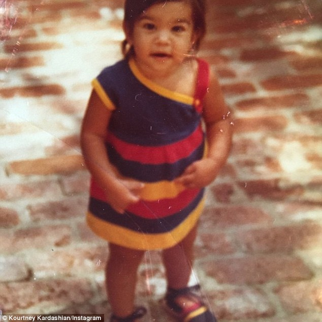 Tiny tot: Kris Jenner dressed daughter Kourtney in colourful styles with perfectly matched footwear