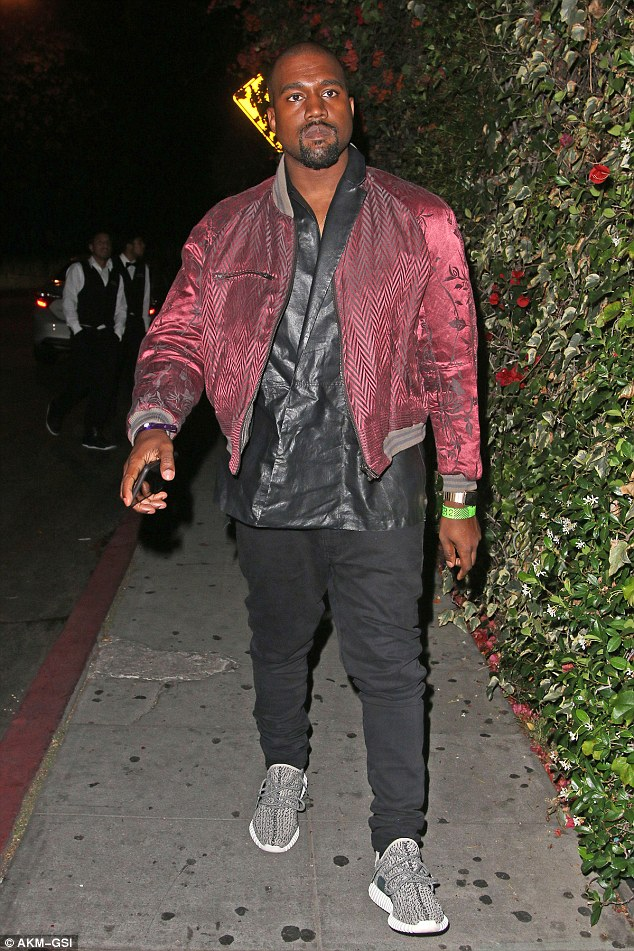 Runaway: Kanye seen earlier this month in Los Angeles outside Chateau Marmont