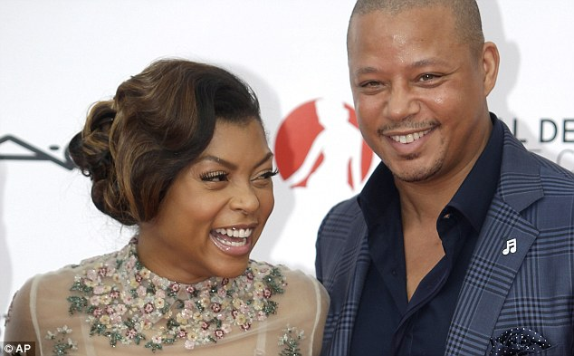 In good spirits: Taraji and Terrence seemed happy to be celebrating their smash hit as they sported wide grins and were spotted laughing on the carpet