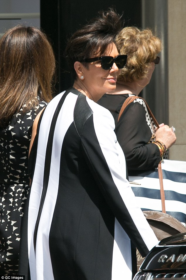 Monochrome: The 59 year-old 'momager' stuck to her favourite colours at the weekend