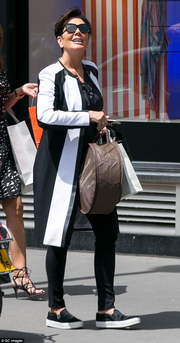 Retail therapy: Enjoying her trip to Europe, Kris spent time soaking up the atmosphere