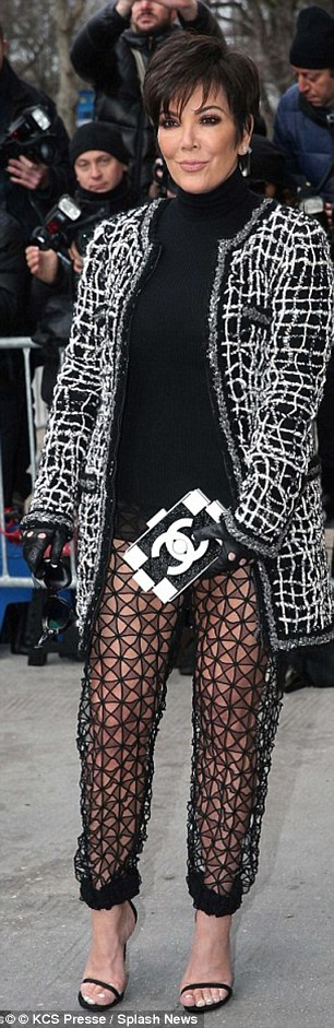 Braving the winter breeze, the 59-year-old matriarch proudly flashed the flesh in a racy pair of trousers at the Chanel show as part of Paris Haute Couture Fashion Week
