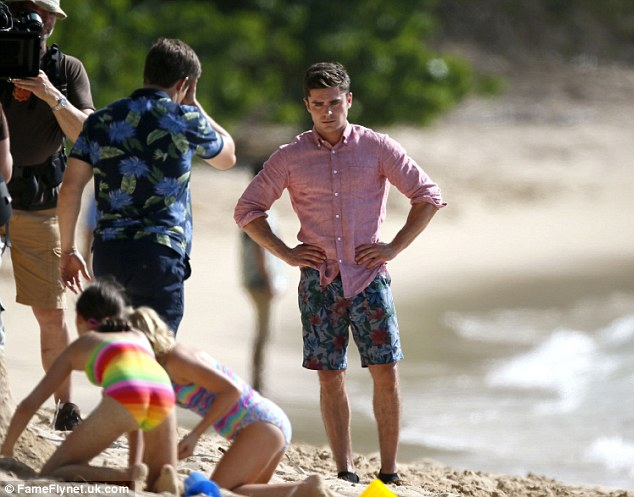 In the moment: Efron was seen looking very focused as he shot the scene