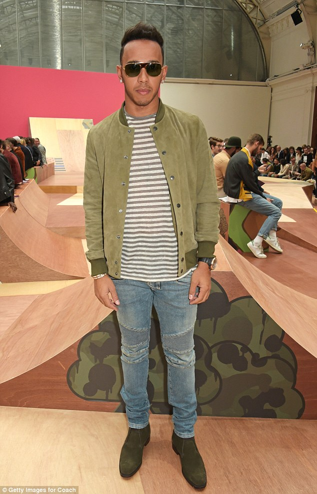Trend setter:It looks like Lewis Hamilton will be sticking with the fashion packafter he was spotted at COACH Men's Spring Presentation at The Lindley Hall for the second day of London Collections Men on Saturday