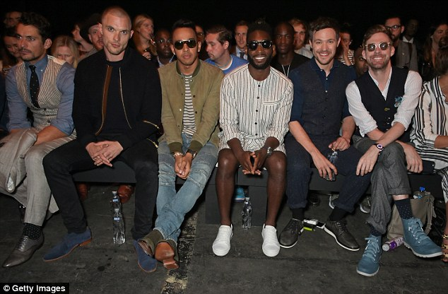 All smiles:Ed Skrein, Lewis Hamilton, Tinie Tempah, Will Young and Ricky Wilson attend the front row at the Oliver Spencer show during London Collections Men SS16 at The Old Sorting Office