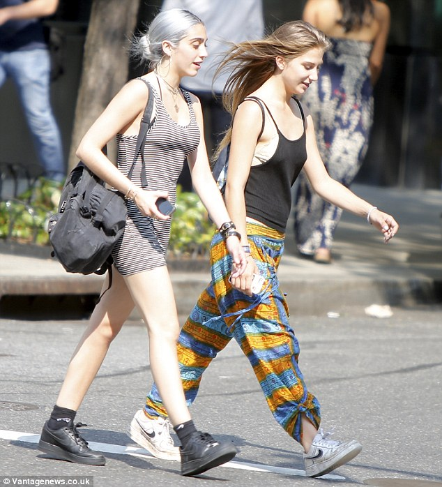 On trend: Lourdes Leon - also known as Lola - showed off silver locks as she was spotted out in New York City with a friend on Friday