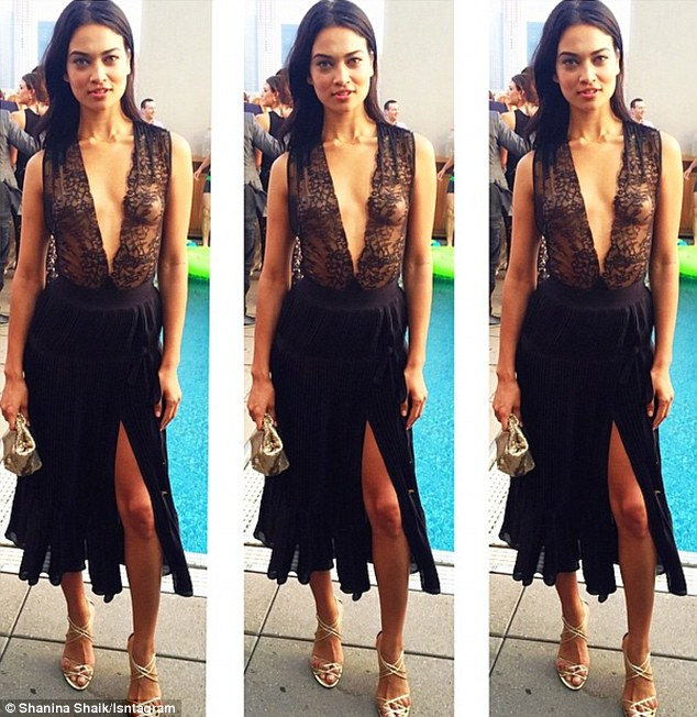 Sizzling:Shanina Shaik was certainly dressed to impress when she attended the Australian Fashion Foundation Summer Party in New York on Thursday showing her ex what he's missing