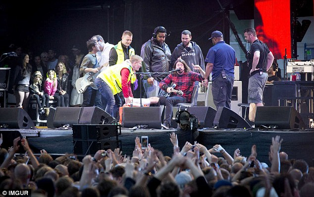 My Hero: Frontman Dave Grohl performed through the pain at the concert in Gothenberg, Sweden last night