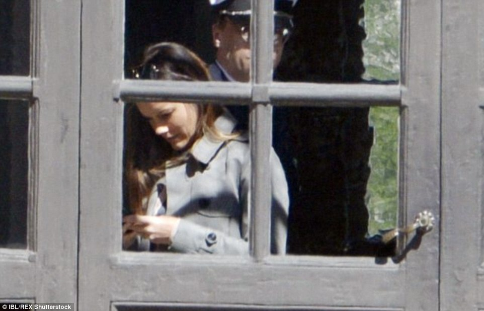 Getting ready: Miss Hellqvist was spotted texting as she made final preparations for the wedding