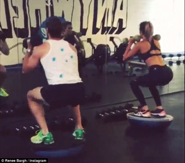 Toned: Renee is seen squatting, lunging and doing jumping planks in a short video posted to Instagram