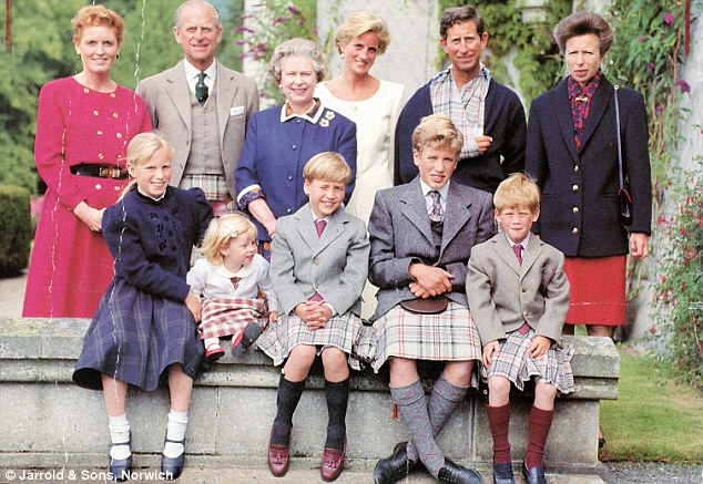Royal blood: Zara is seen on the left with her sister Beatrice in a family photo from her childhood at Balmoral