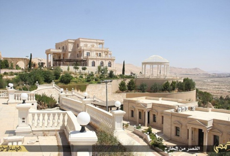 Aerial photographs of the sprawling hilltop mansion that Isis claims to have seized from the Qatari royal family