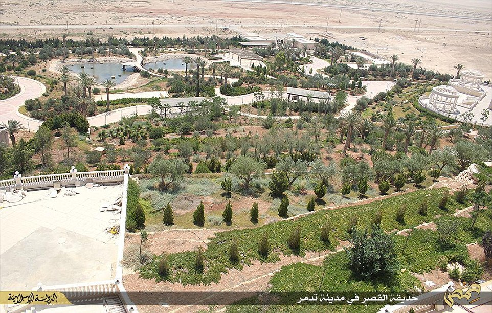 The photographs released by Isis social media branches show highly-manicured lawns and gardens in the heart of the Syrian desert