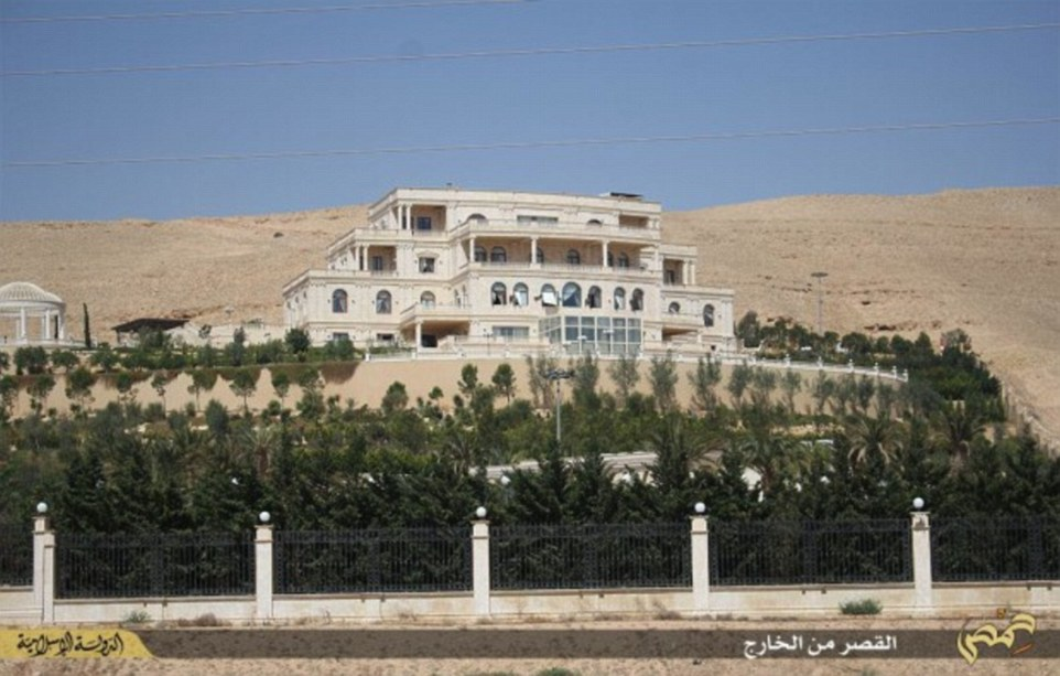 It is claimed that the Qatari royal family abandoned the mansion as Isis - which claimed nearby Palmyra in May - drew near