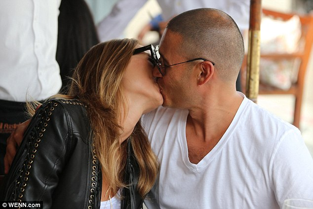 Loved up: Stacy Keibler and Jared Pobre were affectionate during lunch at hotspot Il Pastaioin Los Angeles on Friday