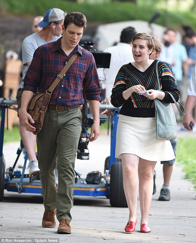 Getting in character: She was seen on the set of Girls in New York on Thursday, filming a romantic stroll with her new on-screen love interest named Fran Parker, played by Jake Lacy