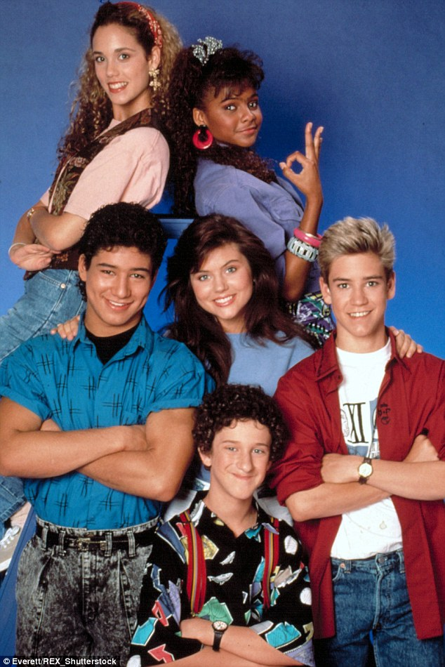Teen stars: Lark with her Saved By The Bell co-stars Elizabeth Berkley, Mario Lopez, Tiffani-Amber Thiessen, Dustin Diamond and Mark-Paul Gosselaar in 1992