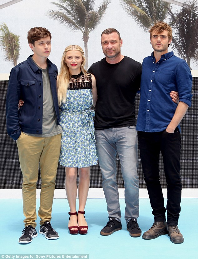 Fantastic foursome:Nick Robinson, Chloe, Liev Schreiber, and Alex Roe all posed for a shot together as they star in the upcoming flick